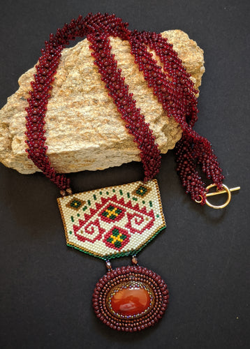 Handcrafted Maroon & Off-White Geometric Pattern Necklace with Carnelian stone