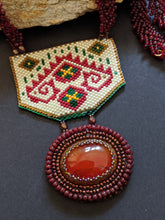 Load image into Gallery viewer, Handcrafted Maroon & Off-White Geometric Pattern Necklace with Carnelian stone