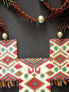 Multi-colored Handmade Beaded Necklace - 3 Panel design