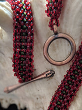 Load image into Gallery viewer, Handmade Beaded Necklace in Dark Red & Green Cascading Bars