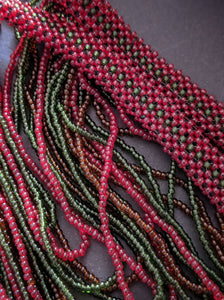 Handmade Beaded Necklace in Dark Red & Green Cascading Bars