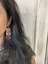 Load image into Gallery viewer, Handmade beaded earrings in Red & Off-white - Kantha style Earrings