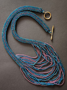 Handmade Beaded Necklace in Rainbow Teal Blue and Pink