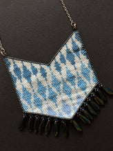 Load image into Gallery viewer, Blue & White Handcrafted Bead Woven Ikat Necklace