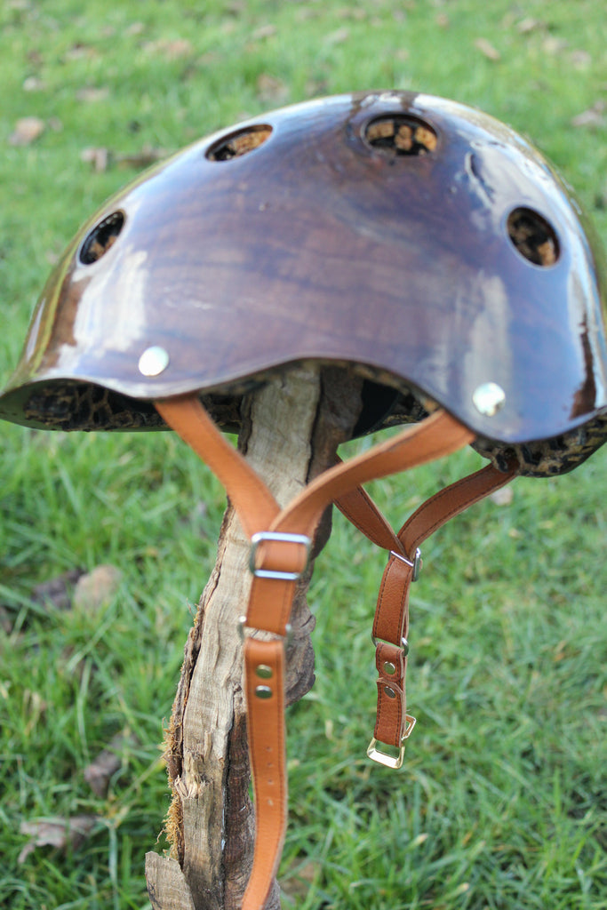 Handmade leather harness on Black Walnut burl Madera helmet