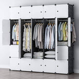 Related yozo modular wardrobe clothes closet plastic dresser multi use portable cube storage organizer bedroom armoire 25 cubes depth 18 inches black