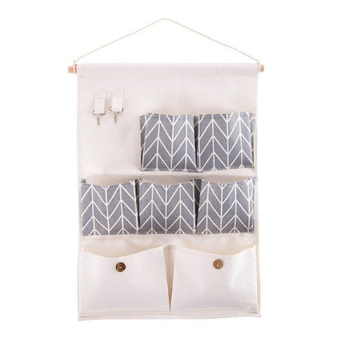 Heavy duty chengsan linen cotton fabric over wall door closet window hanging storage case organizer bag stripe canvas 7 pocket wall hanging multipurpose accessory organizer with 2 hooks grey