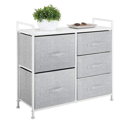 Try mdesign wide dresser storage tower sturdy steel frame wood top easy pull fabric bins organizer unit for bedroom hallway entryway closets textured print 5 drawers gray white