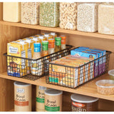Select nice mdesign modern farmhouse metal wire storage organizer bin basket with handles for kitchen cabinets pantry closets bedrooms bathrooms 16 25 long 4 pack bronze
