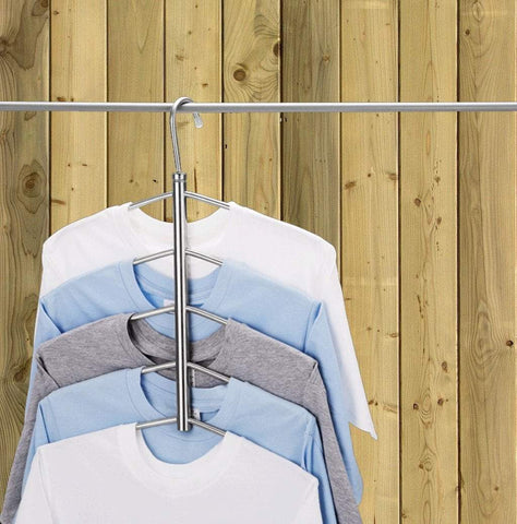 Budget suzeda 5 tier stainless steel blouse tree hanger closet organizer 6 pack