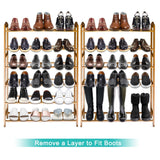 Top anko bamboo shoe rack natural bamboo thickened 6 tier mesh utility entryway shoe shelf storage organizer suitable for entryway closet living room bedroom 1 pack