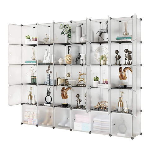 Amazon kousi portable storage shelf cube shelving bookcase bookshelf cubby organizing closet toy organizer cabinet transparent white 30 cubes storage