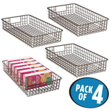 Storage organizer mdesign household metal wire cabinet organizer storage organizer bins baskets trays for kitchen pantry pantry fridge closets garage laundry bathroom 16 x 9 x 3 4 pack bronze