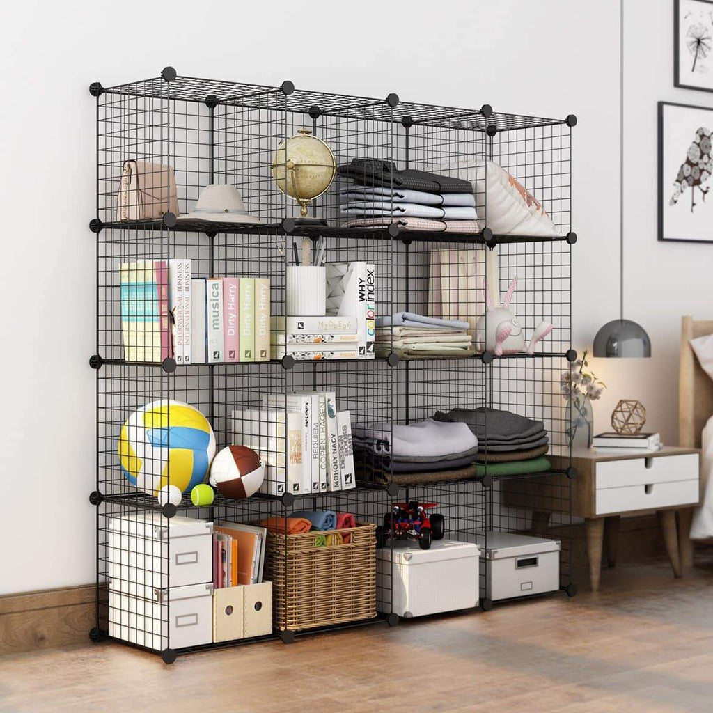 Langria Metal Wire Storage Cubes Modular Shelving Grids Diy Closet Organization System Bookcase Cabinet 16 Regular Cube