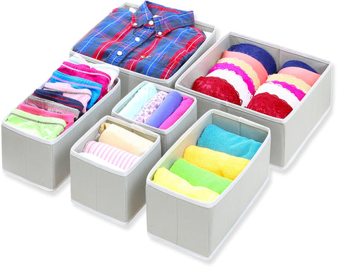 Shop for simple houseware foldable cloth storage box closet dresser drawer divider organizer basket bins for underwear bras gray set of 6