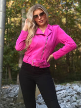 Load image into Gallery viewer, Blonde woman wearing a Hot Pink Fuchsia Suede Jacket with Waist Belt