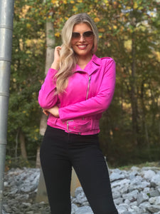 Blonde woman wearing a Hot Pink Fuchsia Suede Jacket with Waist Belt