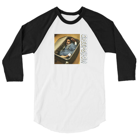 The Man in the Suitcase Photo 3/4 Sleeve Raglan Shirt White/Black | Official Creepshow Store