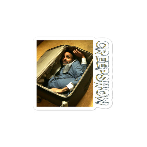 The Man in the Suitcase Photo Bubble-Free Stickers 3x3 | Official Creepshow Store