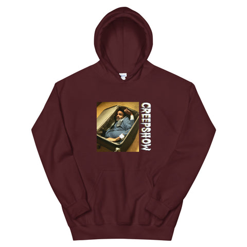 The Man in the Suitcase Photo Unisex Hoodie Maroon | Official Creepshow Store