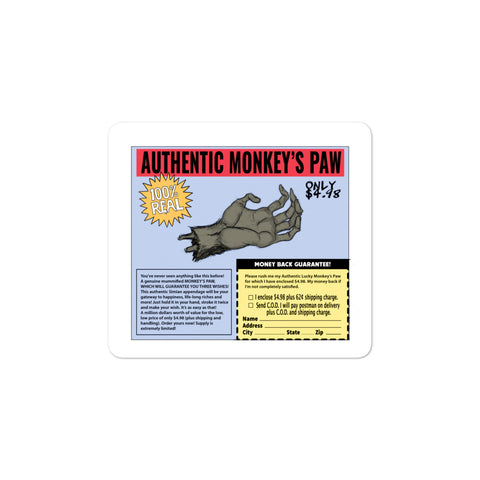 Authentic Monkey's Paw Ad Bubble-Free Stickers 3x3 | Official Creepshow Store