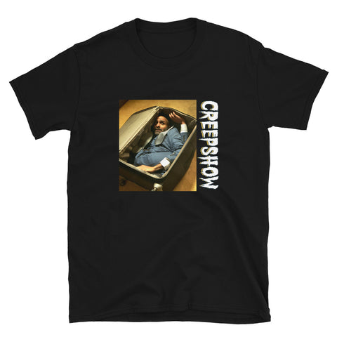 The Man in the Suitcase Photo Short-Sleeve Unisex T-Shirt Black | Official Creepshow Store