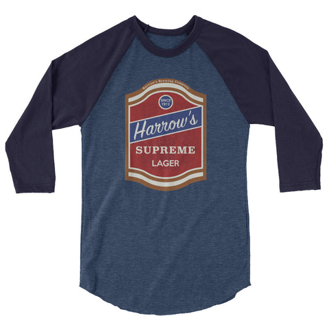 Harrow's Beer 3/4 Sleeve Raglan Shirt Heather Denim/Navy | Official Creepshow Store