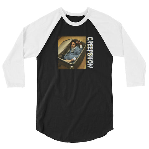 The Man in the Suitcase Photo 3/4 Sleeve Raglan Shirt Black/White | Official Creepshow Store