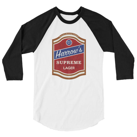 Harrow's Beer 3/4 Sleeve Raglan Shirt White/Black | Official Creepshow Store