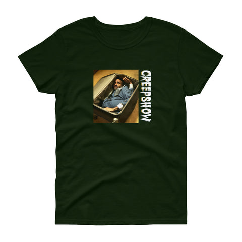 The Man in the Suitcase Photo Women's Short Sleeve T-Shirt Forest Green | Official Creepshow Store
