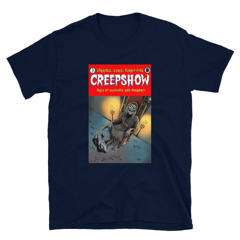The Finger Cover Short-Sleeve Unisex T-Shirt Navy | Official Creepshow Store