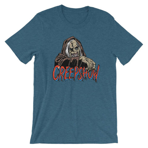 New CBC Creep Soft Short-Sleeve Unisex T-Shirt Heather Deep Teal | Official Creepshow Store