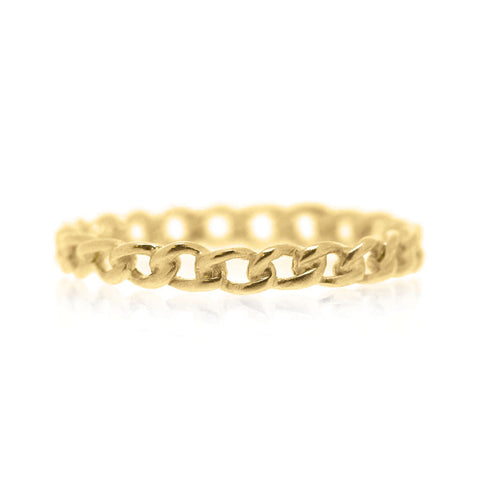 Chain Ring Fine - Yellow Gold Plated Sterling Silver