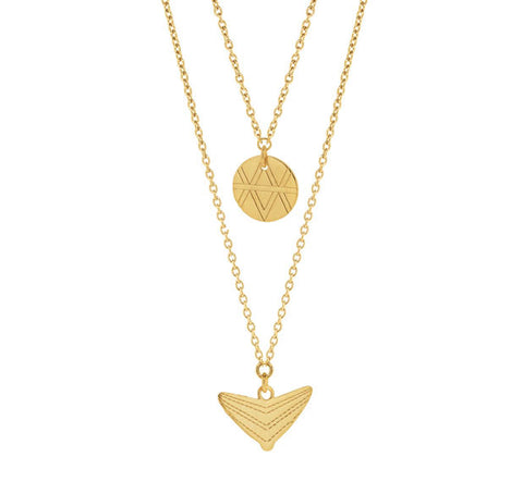 Journey Double Drop Necklace - Yellow Gold Plated Sterling Silver