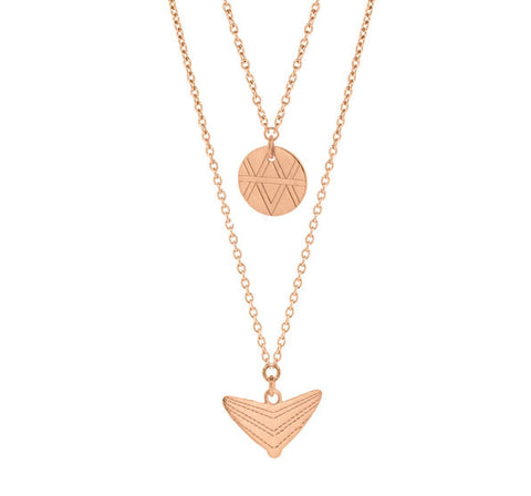 Journey Double Drop Necklace - Rose Gold Plated Sterling Silver