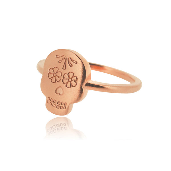Day of the Dead Ring - Rose Gold Plated Sterling Silver