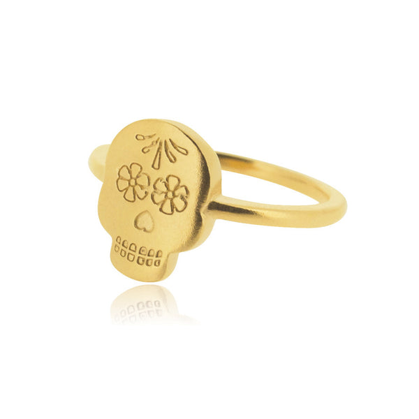 Day of the Dead Ring - Yellow Gold Plated Sterling Silver