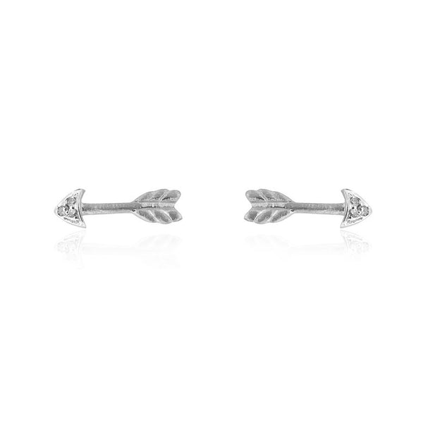 Itsy Bitsy Arrow Stud Earrings - 9k White Gold & Diamond
