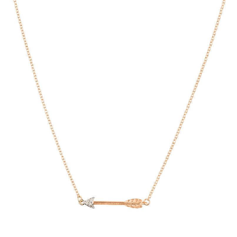 Itsy Bitsy Arrow Necklace - 9k Rose Gold & Diamond