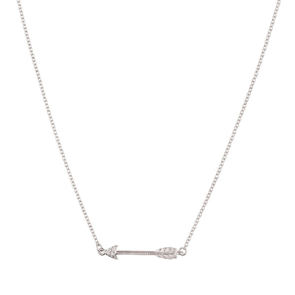 Itsy Bitsy Arrow Necklace - 9k White Gold & Diamond