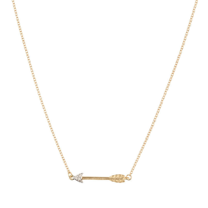 Itsy Bitsy Arrow Necklace - 9k Yellow Gold & Diamond