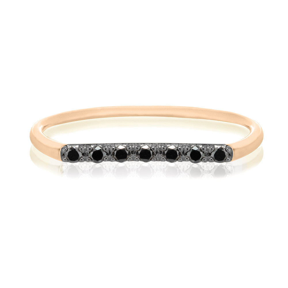 Geo Ring - 9k Rose Gold & Black Diamond