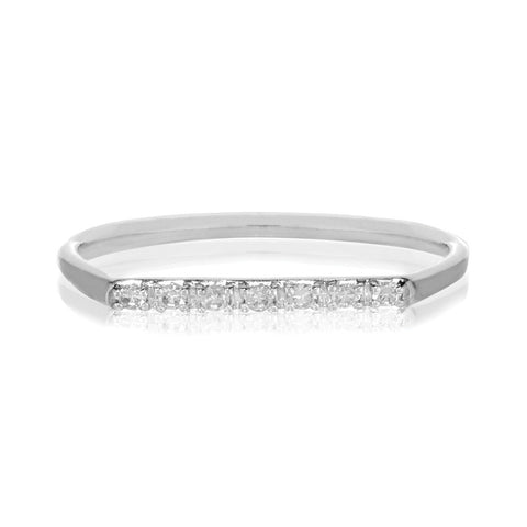 Geo Ring - 9k White Gold & White Diamond