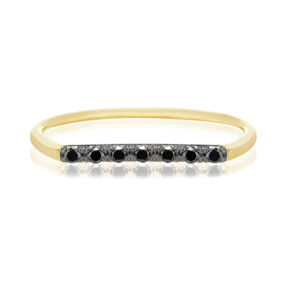 Geo Ring - 9k Yellow Gold & Black Diamond
