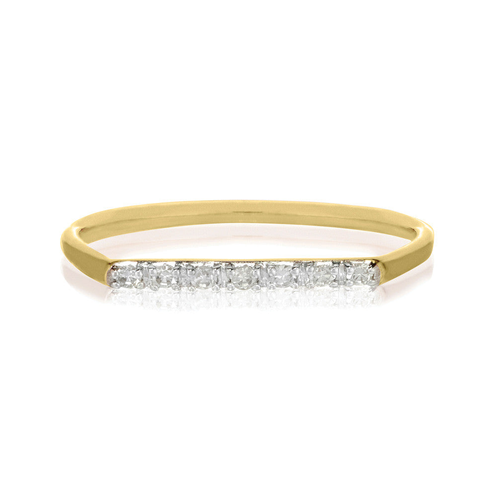 Geo Ring - 9k Yellow Gold & White Diamond