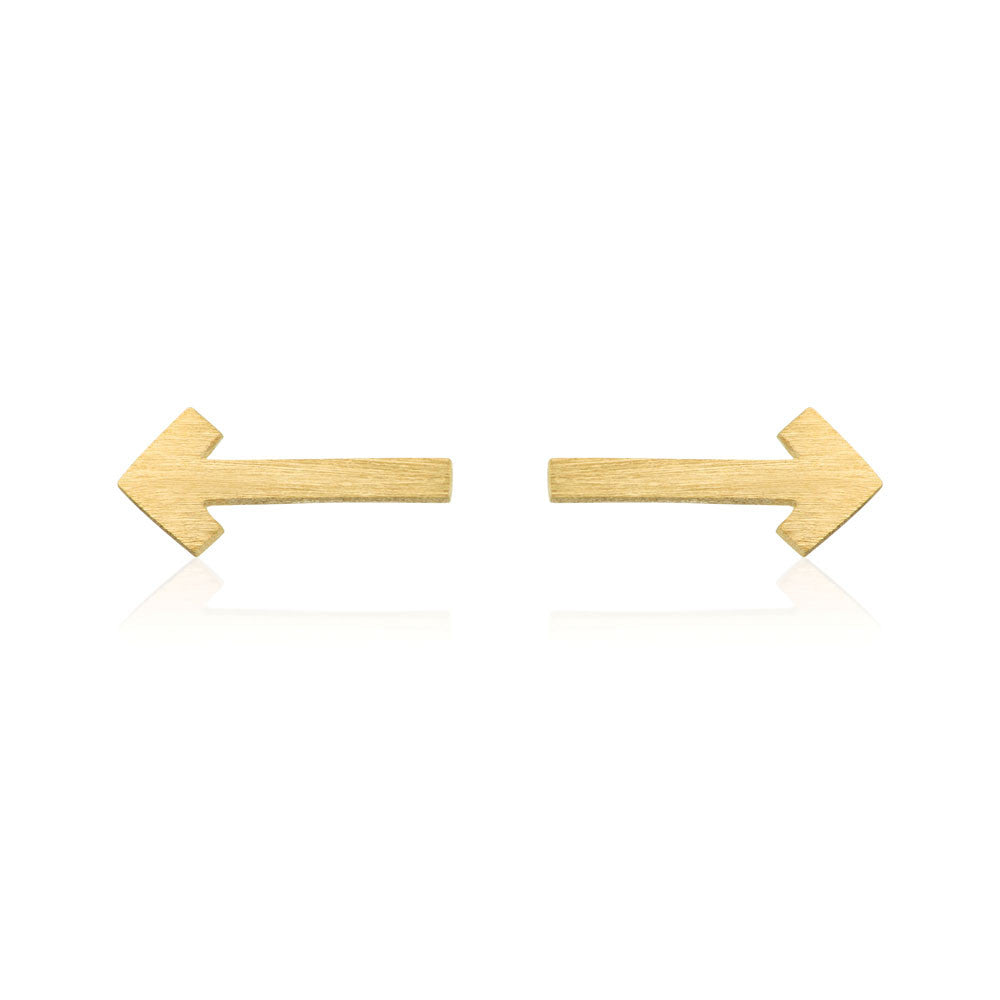 This Way Stud Earrings - Yellow Gold Plated Sterling Silver