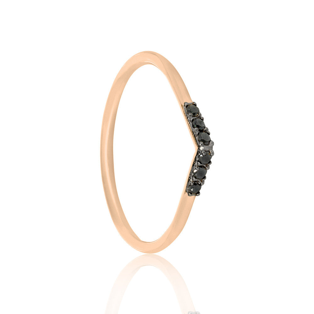 Black Diamond Tear Drop Ring - 9k Rose Gold