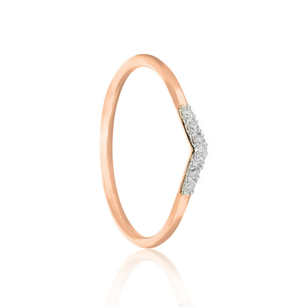 White Diamond Tear Drop Ring - 9k Rose Gold