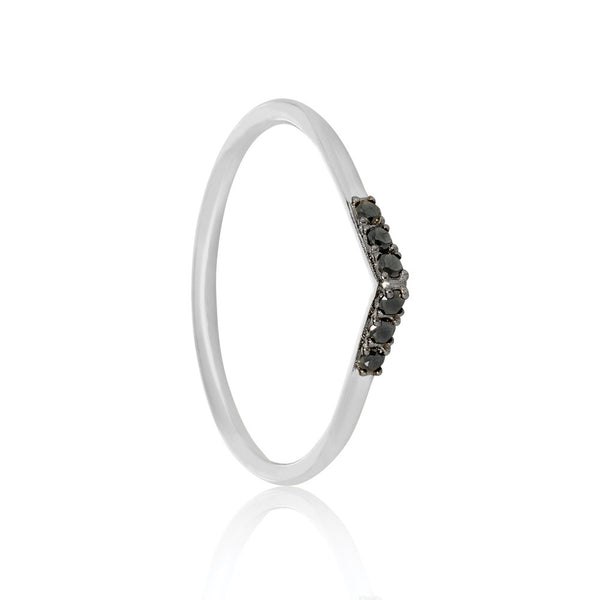 Black Diamond Tear Drop Ring - 9k White Gold