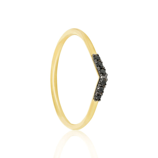 Black Diamond Tear Drop Ring - 9k Yellow Gold